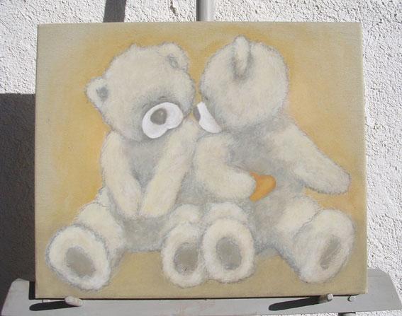 Peinture animale d 39 apres photo huile gouache sur toile bois fresque - Colorant pour huile de lin ...